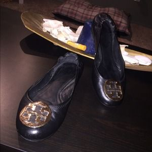 Authentic Tory Burch Reva Black leather Flats