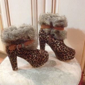 Kwoh cheetah platform booties