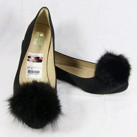 Love Moschino Black Satin With Fur Pom