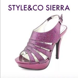 Style & Co Shoes - Women's Style & Co Plum Glitter platform Heel NEW