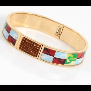Colorful stainless steel bangle w/ zircon stones