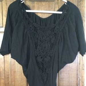 Black batwing laced back Express top