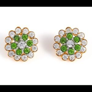 Emerald green and clear crystal stud earrings