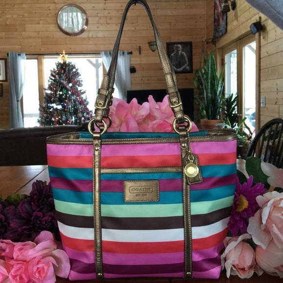ef5df4c7de Coach Handbags - COACH Multi Color Striped Bag   Tote. Gorgeous!