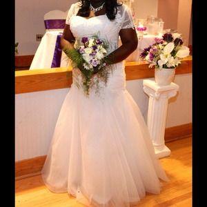 Dresses & Skirts - White wedding Dress Size 18 with shrug.