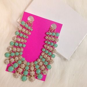 Bauble Bar Jewelry - Bauble Bar Pave and Mint Statement Necklace