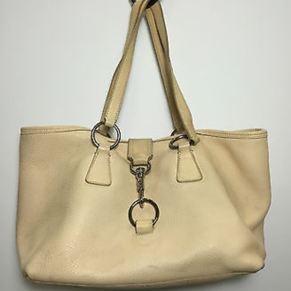 Prada Bag Beige Beige Leather Tote Bag