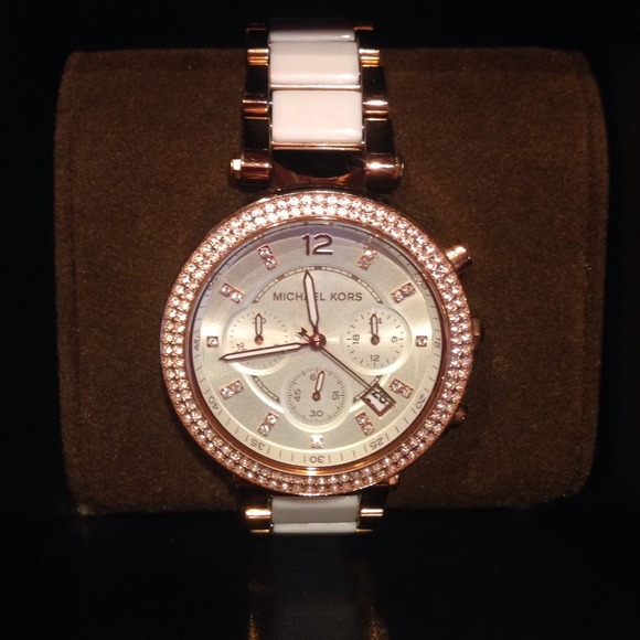 896d104f374 PARKER ROSE GOLD-TONE WHITE ACETATE WATCH