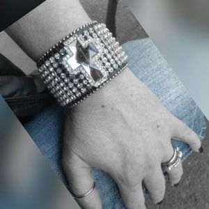 Jewelry - Leather Rhinestone Cuff