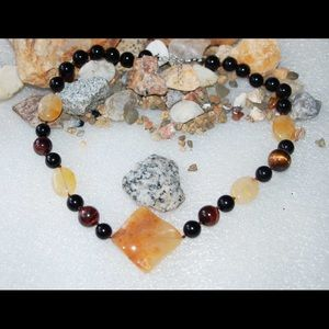 Natural Yellow Jade,Red Tiger's Eye Necklace