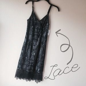 Black/Gray Lace Midi Dress
