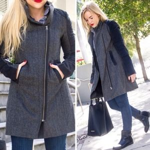 REDUCED ✔️Asymmetrical Black + Grey Tweed Coat