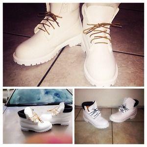 All white custom timbs