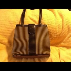 Taupe & black striped handbag