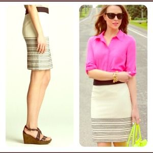 J. Crew horizontal stripe pencil skirt