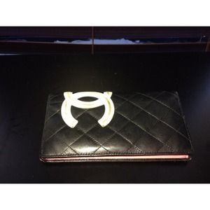 Black Chanel Cambon Wallet w/Hot Pink Interior