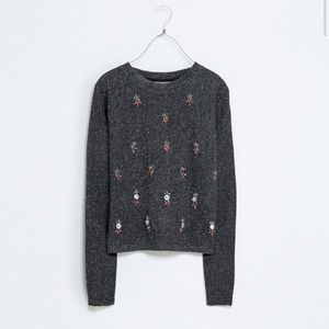 Bejeweled Cropped Sweater