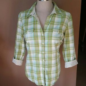 Style & Co Tops - Style & Co. Lime Green Plaid & Polka-dot Top