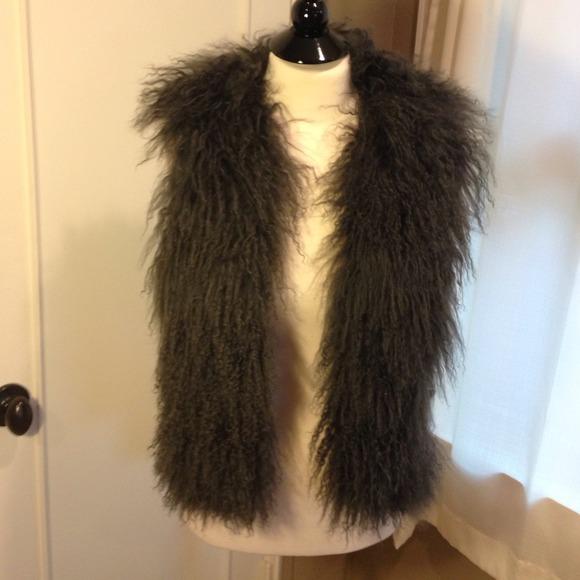 Gray shaggy vest