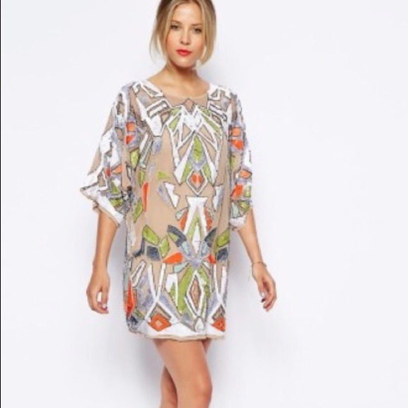 56% off ASOS Dresses & Skirts - Asos Premium Geo-Tribal Sequin ...