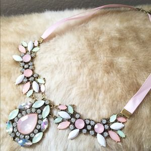 Coral Crystal Statement Bib Necklace