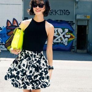 Forever 21 Dresses & Skirts - 💎 Black and White Floral Skater Midi Skirt