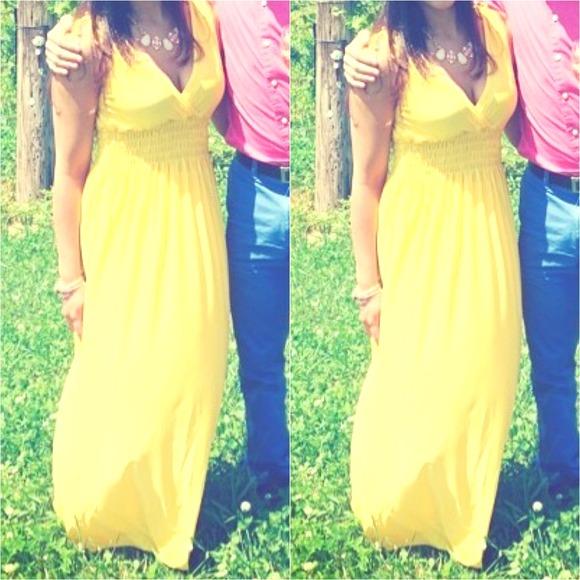 Fashion Nova Beauty Queen Maxi Dress: Yellow Maxi Dress From Elena's Closet On