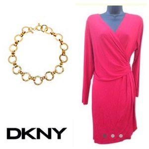 DKNY Dark Coral Wrap Style Dress