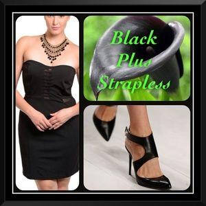 Dots Dresses & Skirts - Black Strapless Plus Dress 📍SALE PRICE📍