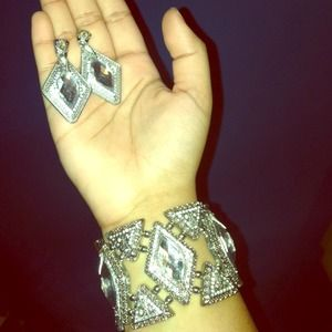 Glam Silver Earrings & Bracelet