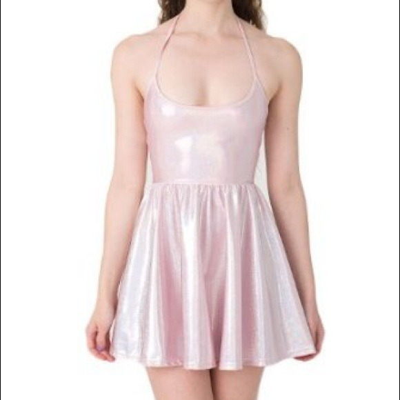 American Apparel Dresses Pink Holographic Skater Dress