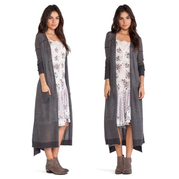 51% off Free People Sweaters - Free People Grey Striped Maxi Merci ...