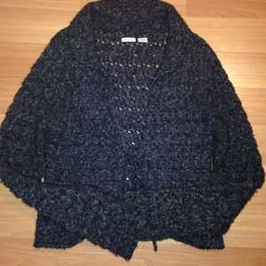 Black/grey cardigan sweater with front tie