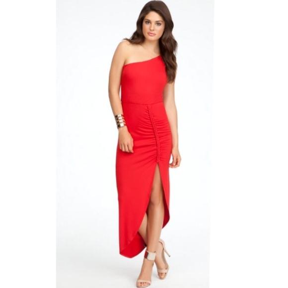 9ad4530829 Bebe bodycon stretch one shoulder braid midi dress.  M_54a6282b17b8c232701104e4