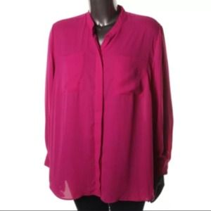 * NWT* INC Sheer Button Down Plus Size Blouse