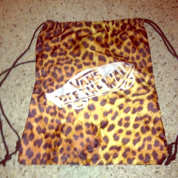 8138115f Vans Accessories   Clearance Cheetah Drawstring Bag Nwot   Poshmark