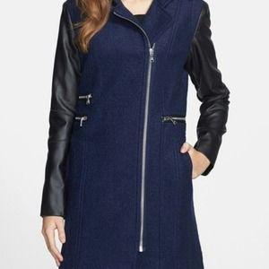 🎉HP🎉 Calvin Klein Navy Boucle Coat Vegan Leather