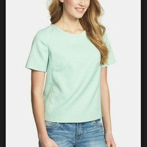 Tops - Mint Colored Textured Houndstooth Top