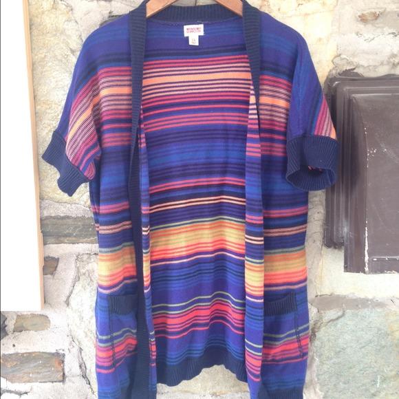 Blue and orange knit short sleeve cardigan