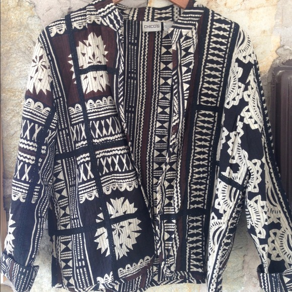 Chico's Tribal Black, Brown, Cream Open Blouse