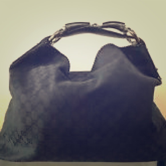 c847bc3c7ed Gucci Handbags - 💯Authentic Gucci XL Black Canvas Horsebit Hobo