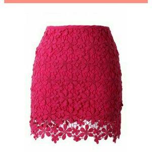 Floral Crochet Overlay Hot Pink Skirt