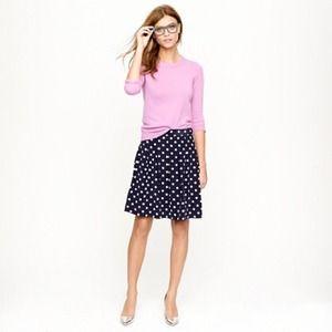 J.Crew Silk Crepe Pleated Polkadot Skirt