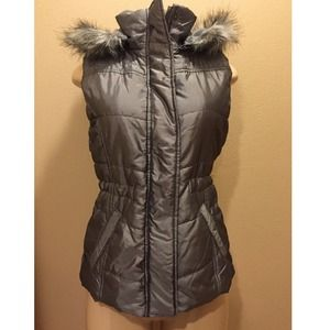 New York & Co Silver Puffer Vest