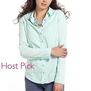 HOST PICK Anthro mint, wale cord Button-down