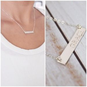 Newsprint Font Hand Stamped Bar Necklace