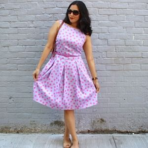 Tahari Dresses & Skirts - HOST PICK! Tahari Purple & Pink Polka Dot Dress