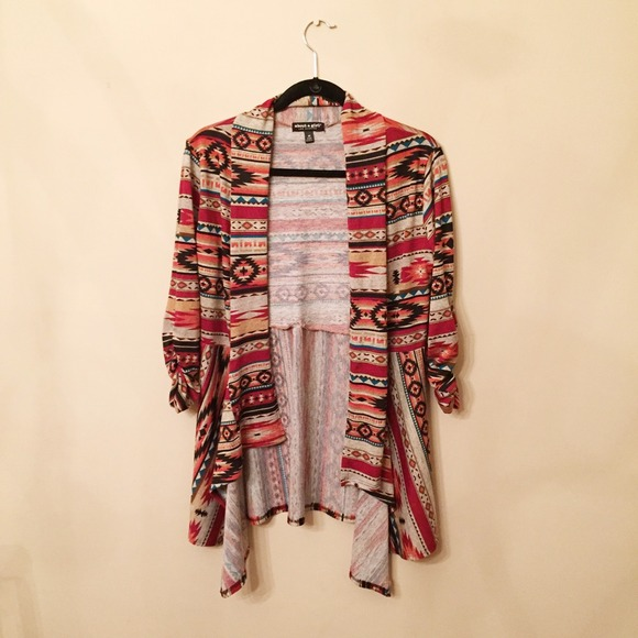 About A Girl Los Angeles Sweaters Tribal Print Cardigan