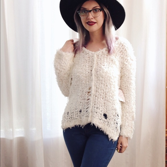 Free People Sweaters - Free People Ivory Ladder Stitch Sweater