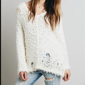 Free People Ivory Ladder Stitch Sweater